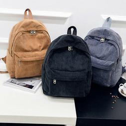 Women Men Vintage Rucksack Corduroy Backpack School Bag Soli