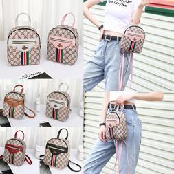 Women Mini Backpack Bee Leather Handbag Lady Shoulder Messen