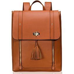 Estarer Women PU Leather Backpack 15.6inch Laptop Vintage Co
