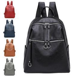 Women PU Leather Satchel Shoulder Backpack Girl School Rucks