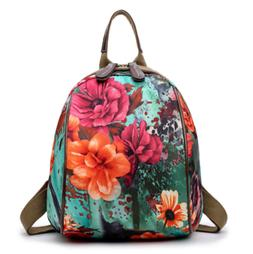Women's Casual Floral Printed Small mini  Canvas Backpacks f