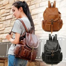 Women's Vintage Leather Backpack School Backpack Shoulder Tr
