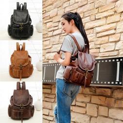 Women's Vintage Leather Backpack Travel Shoulder School Shou