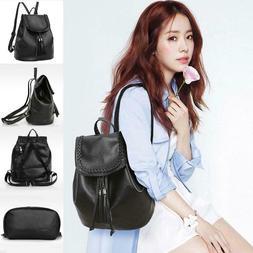 Women Solid Tassel Adjustable Strap Backpack Shoulder Bag Wa