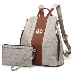 Women Vegan Leather Antitheft Backpack School Shoulder Bag w
