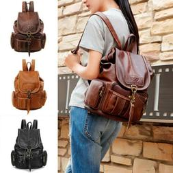 women vintage pu synthetic leather backpack shoulder