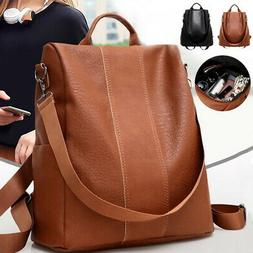 womens leather backpack anti theft rucksack school