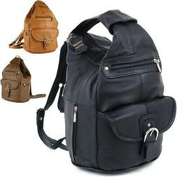 Womens Leather Backpack Purse Sling Shoulder Bag Handbag 3 i