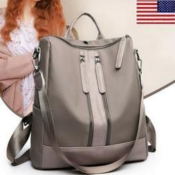 Women's Leather Backpack Rucksack Anti-Theft Black/Khaki S